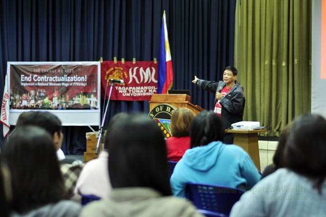 "END CONTRACTUALIZATION. Elmer ""Bong"" Labog, National President of Kilusang Mayo Uno, mentioned that ""Contractualization of workers, both from public and private, intends to weaken the existing union"" during the forum on contractualization and National Industrialization last August 10,2016 at Baguio City Hall, Multipurpose Hall. Marc Mendiola/Nordis"
